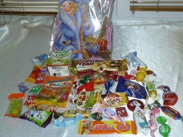 Состав детских Новогодних подарков СладКо конфеты 60